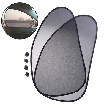 1Pair Foldable Car Rear Window Sunshade Sun Shade Cover Visor Mesh Shield UV Block 38cm*65cm image