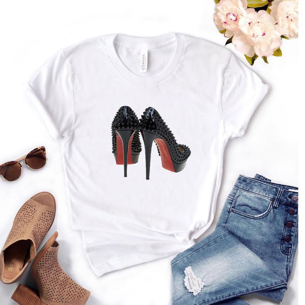 Streetwear Tshirt High Heels Picture T Shirt Women's Plus Size Kawaii Cartoon Women T-shirts Casual for Print on The Female Tee