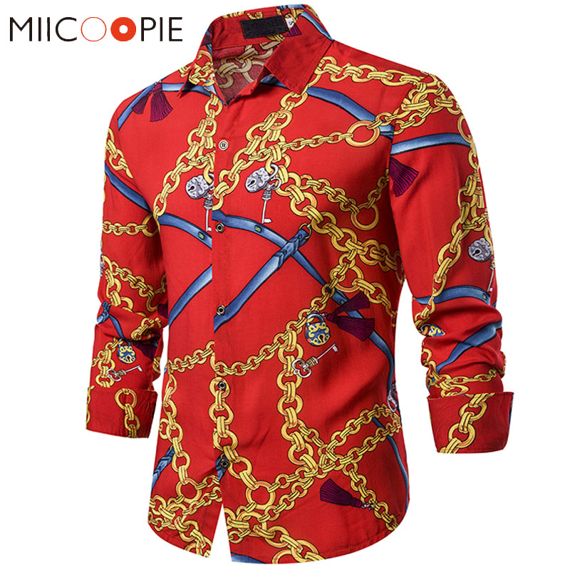Mens Shirts New Luxury Retro Red Metal Chain Key Printed Social Tuxedo Slim Fit Chemise Homme Manche Longue Hip Hop Streetwear