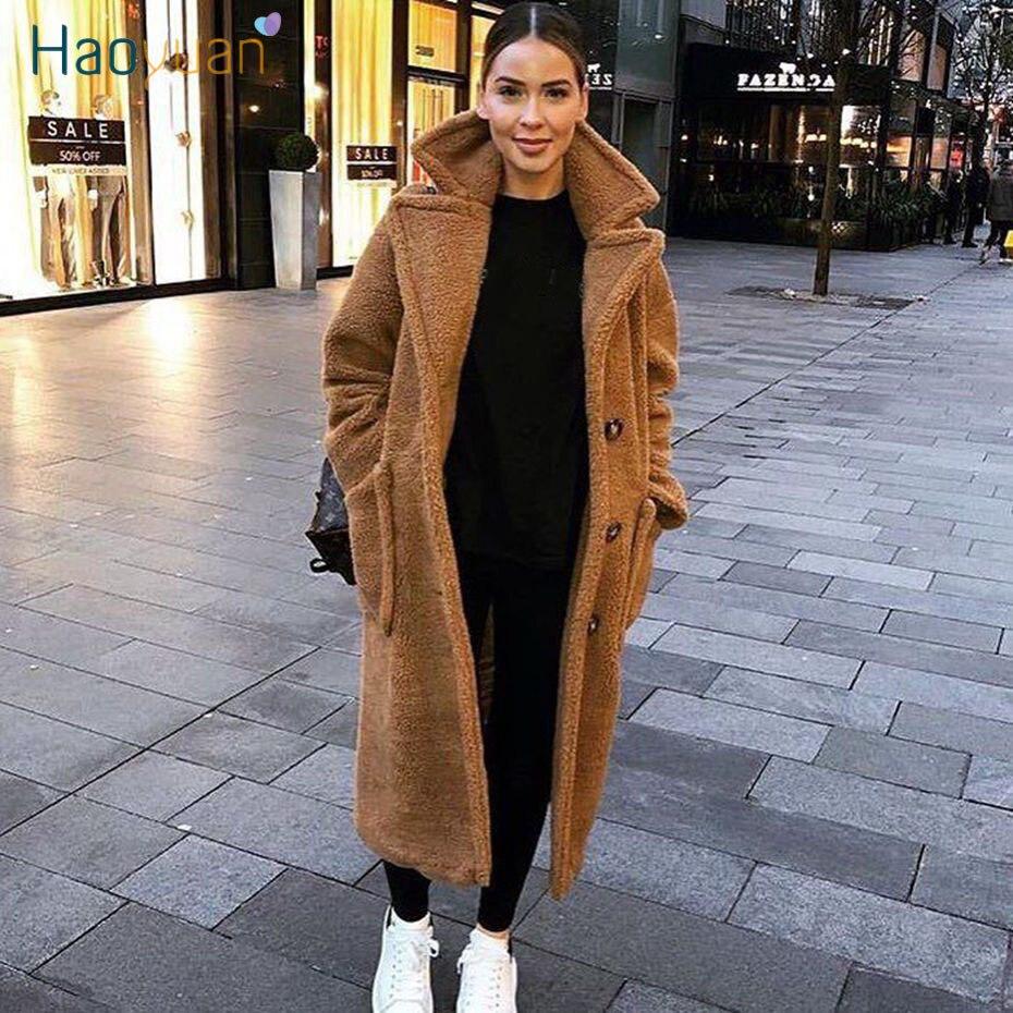 HAOYUAN Teddy Coat Women Winter Casual Loose Plush Long Teddy Bear Overcoat Oversize Fleece Thick Warm Outwear Faux Fur Jackets