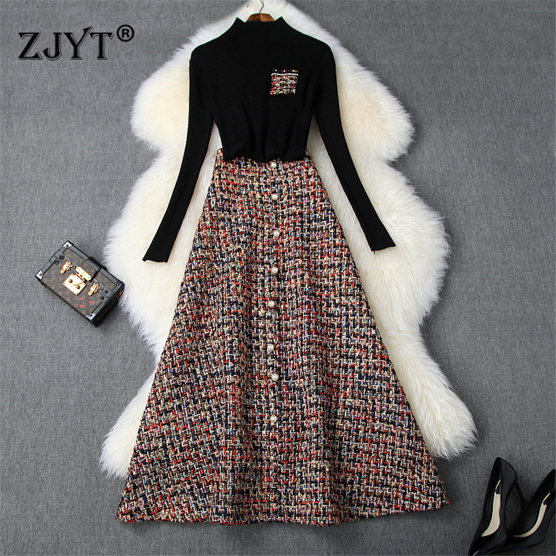 Runway Designer 2Piece Skirt Set Women 2019 Fashion Autumn Winter Outfits Black Sweater And Long Tweed Woolen Skirt Suit Twinset
