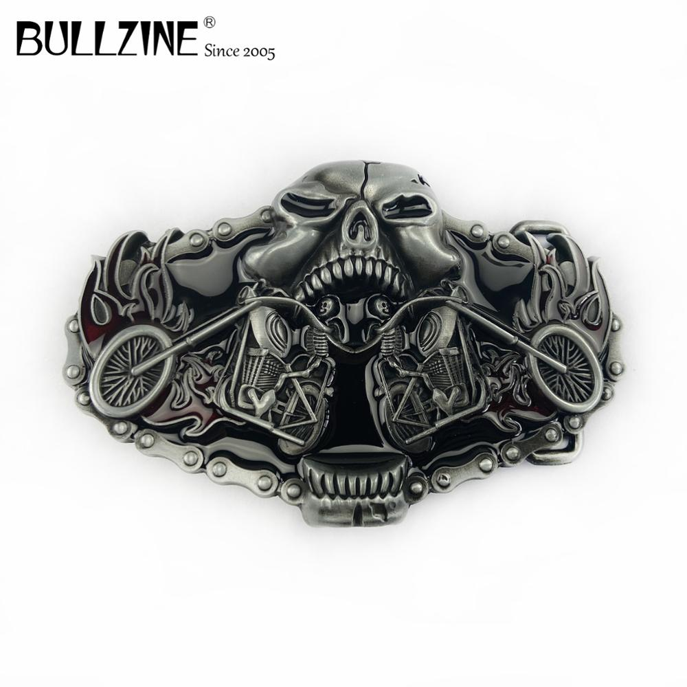 The Bullzine 3D motor cool belt buckle with pewter finish FP-03647 suitable for 4cm width snap on belt