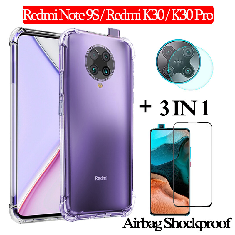 3-In-1 Protector Pantalla,Pelicula,Glass For Redmi K30 Pro Global Airbag Case Redmi Note 9S Armor Back Cover K 30 Xiaomi K30pro