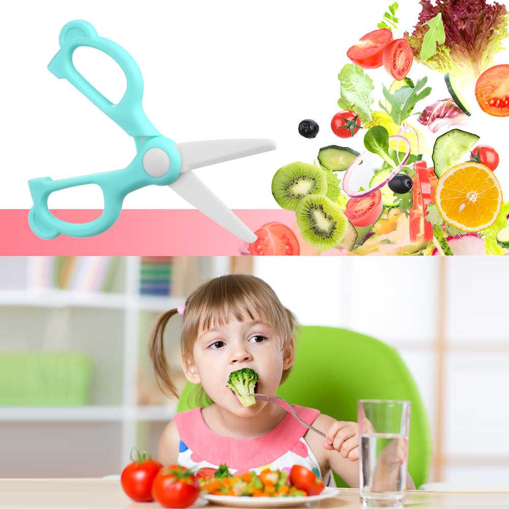 תינוק מזון מספריים קרמיקה עם תיבת אחסון נייד תינוק DIY מזון מספריים עם מגן כיסוי מטבח כלי עבור תינוקות
