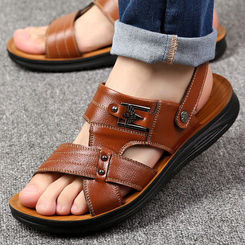 Summer casual shoes men sandals 2019 fashion solid pu leather slip-on indoor & outdoor sandals men shoes slip-on beach man shoes Pakistan