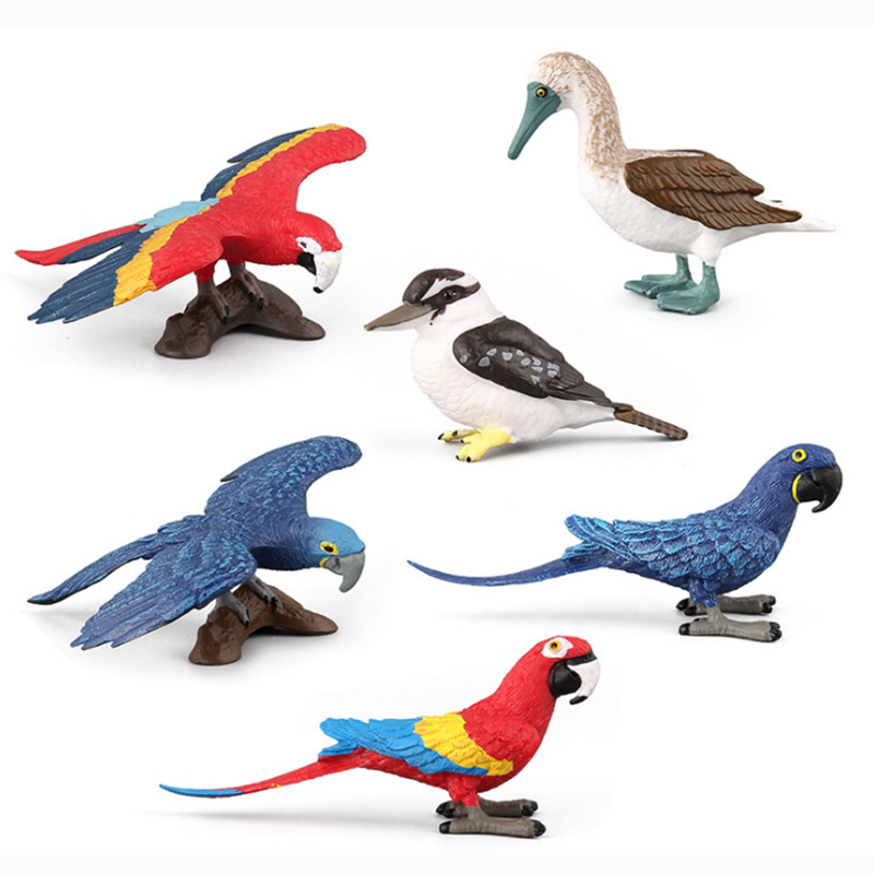6 Kidns Simulation Bird Animal Figure Collectible Toys Animal Action Figures Kids Plastic Cement Toys