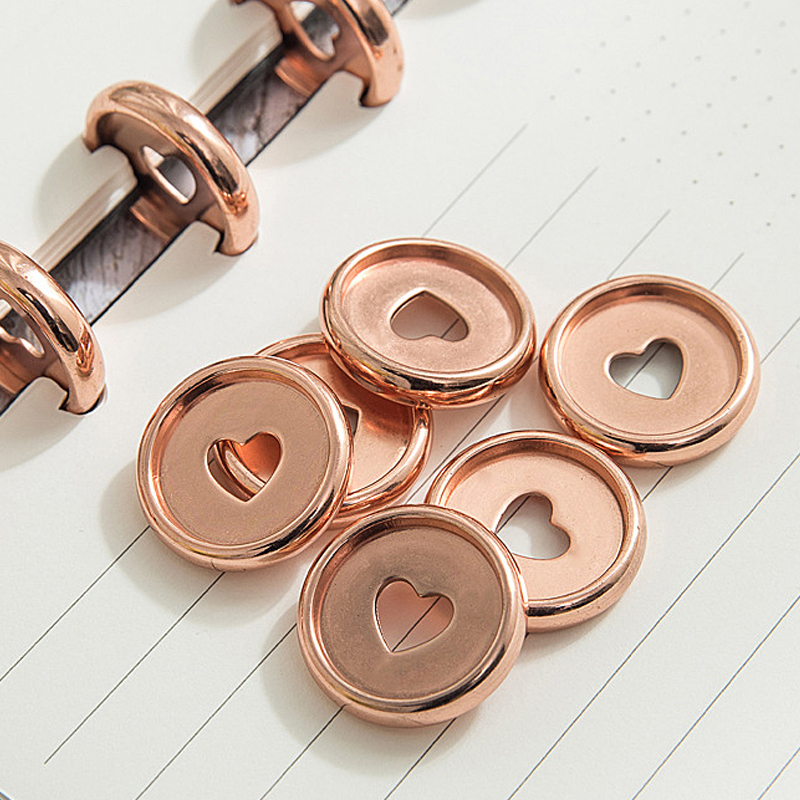 30pcs Heart Notebook Mushroom Hole Button Notepad Plastic Loose Leaf Coil 360 Degree Foldable Disc Buckle Office Supplies