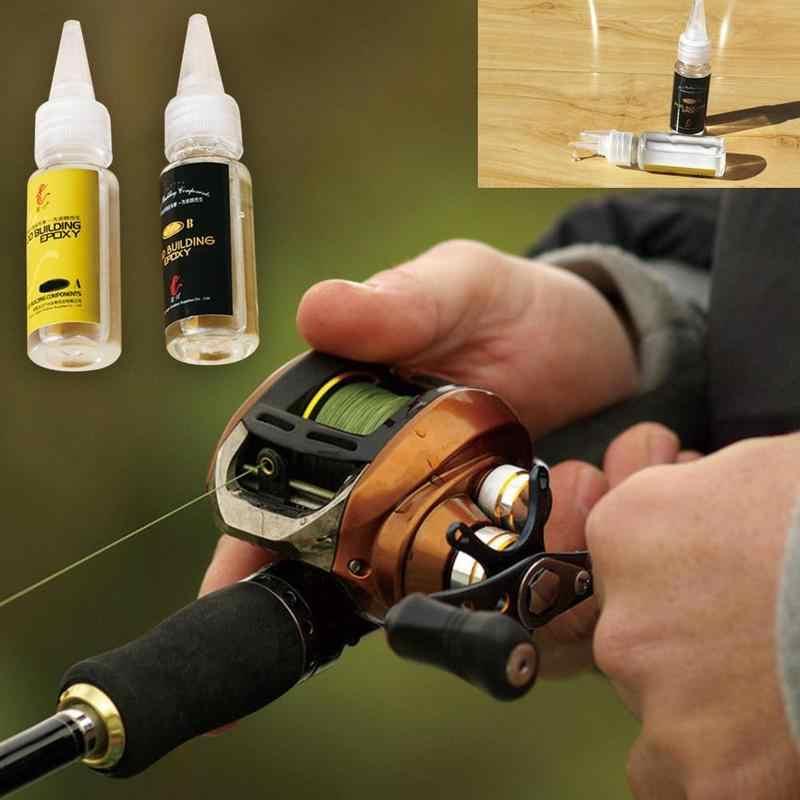 Caña de pescar de 2 uds, pegamento especial de resina, caña de pescar, pegamento especial de resina epoxi, pegamento transparente para hilo, accesorios para caña de pescar
