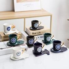 Turecki niebieski oczy luksusowa filiżanka do kawy ze spodkiem zestaw z ręką i ubraniem kształt danie Ottoman Cup Boonido Coffee Cappuccino Cup 200ml