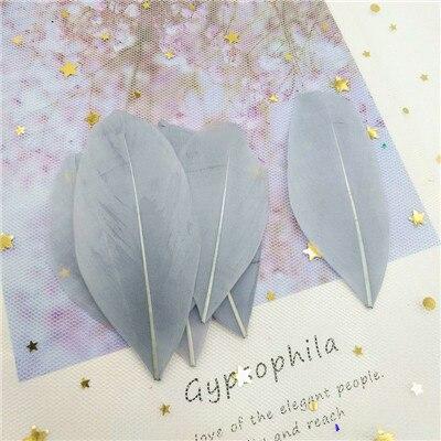 Натуральные гусиные перья 4-8 см, многоцветные белые перья, поделки своими руками, украшения для свадебной вечеринки, аксессуары, 50 шт - Цвет: gray 50pcs