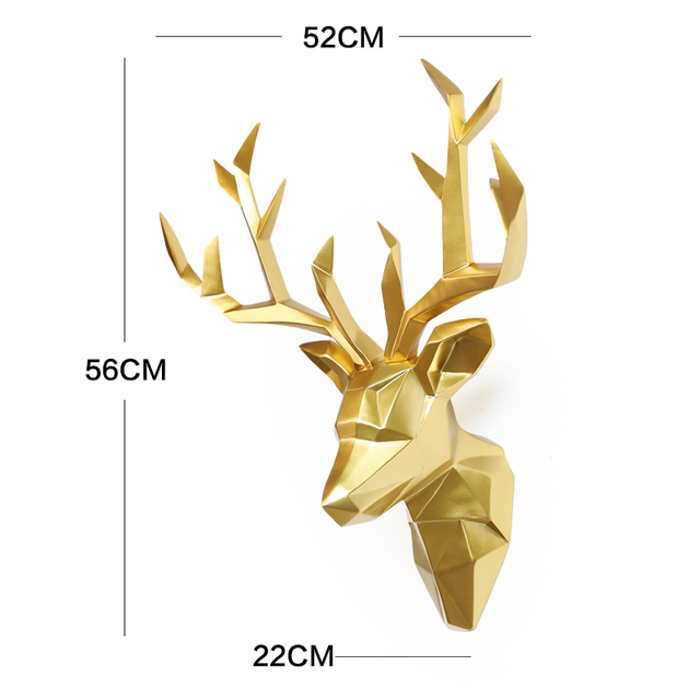 Large 3D Deer Head Statue Sculpture Decor Home Wall Decoration Accessories Animal Figurine Wedding Party Hanging Decorations 2