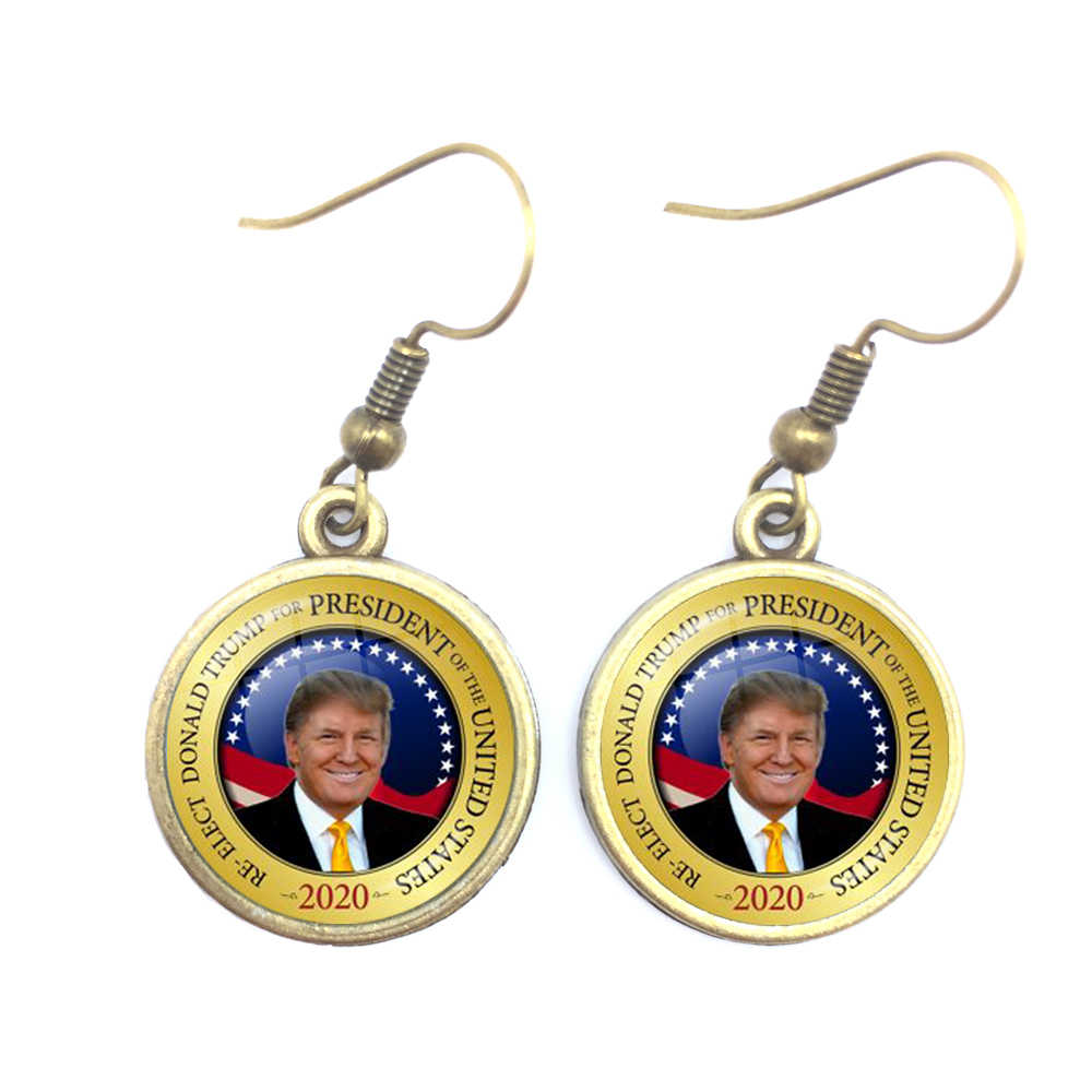 Donald Trump 2020 Collection Election Glass Cabochon Keep America Great Silver/Golden/Bronze Earrings Jewelry For Women Girls