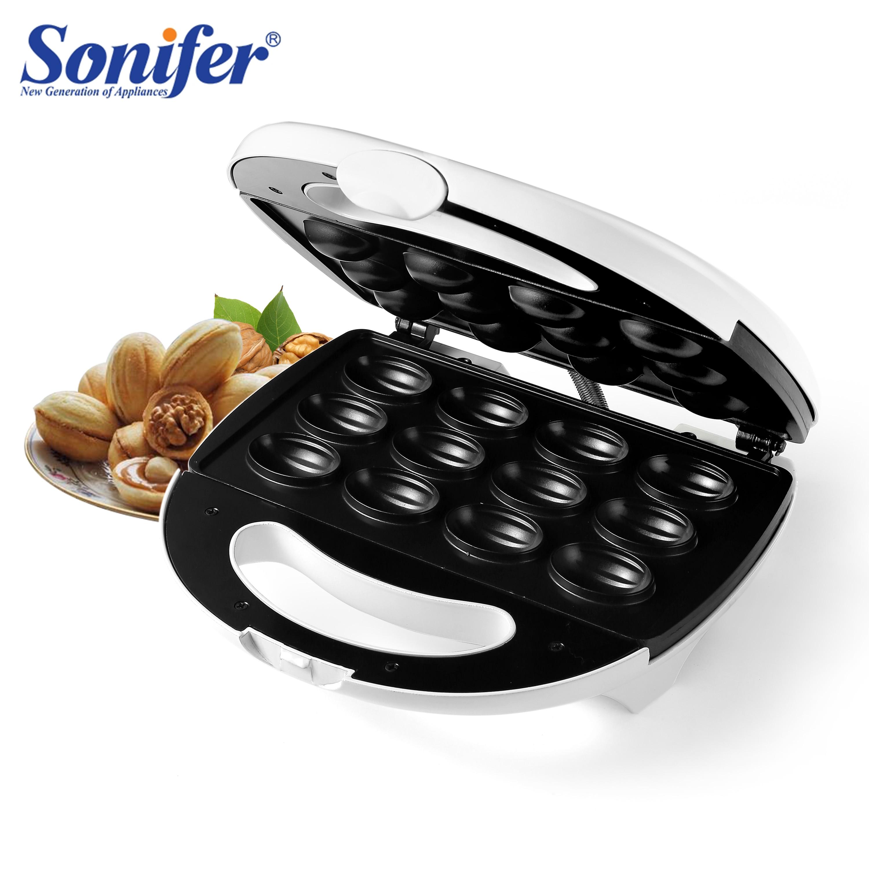 750W Mini Electric Walnut Sandwich Maker Stainless Steel 12 Holes Nut Plate Household Breakfast Machine Non-Stick 220V Sonifer