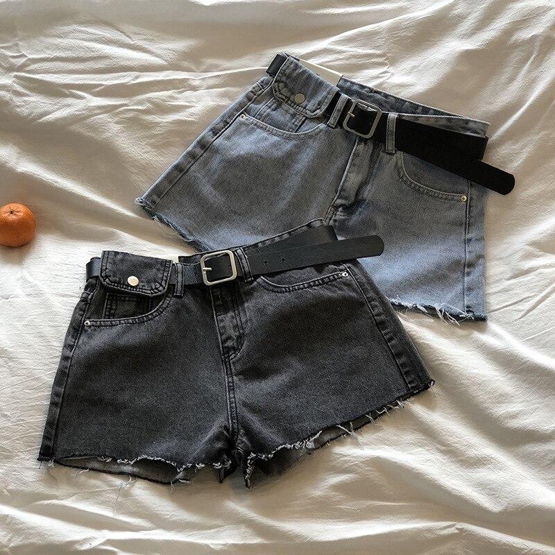 Summer Cool Women Denim Shorts High Waists Fur-lined Leg-openings Plus Size Sexy Short  Red