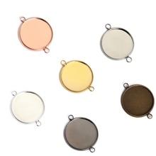 цена на 10pcs/lot 10 12 14 mm Double Hole Cabochon Base Tray Bezels Blank Setting Supplies For Jewelry Making Findings Bracelet Pendant