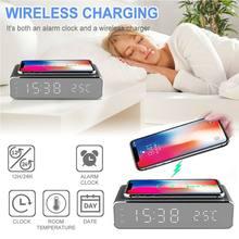 LED réveil électrique avec chargeur de téléphone sans fil bureau thermomètre numérique horloge HD Snooze horloge miroir avec mémoire de temps
