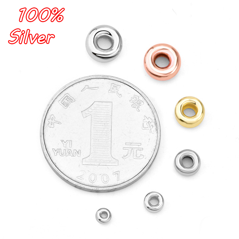 10pcs 2020 Authentic 925 Sterling Silver Color Smooth Round Spacer Stopper Beads DIY Jewelry Making Original Charm Bracelets