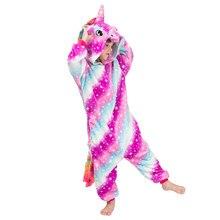 Inverno velo pijamas crianças dos desenhos animados pijamas pijamas crianças pijamas unicornio pijamas meninas unicórnio