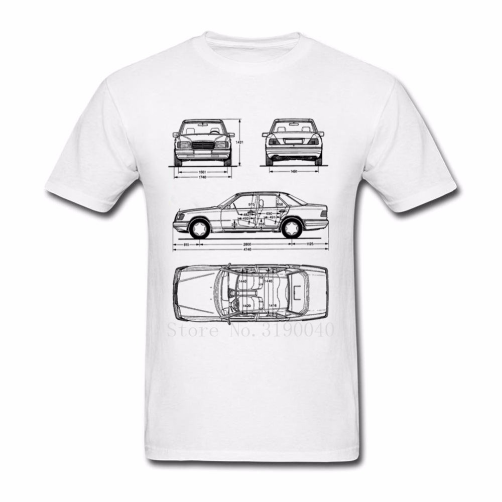 THE North Off Car Mercedes W124 T Shirt Men Streetwear Shirt Clothes Plus Size Cotton Men Shirts Novelty Tee Tops Face White