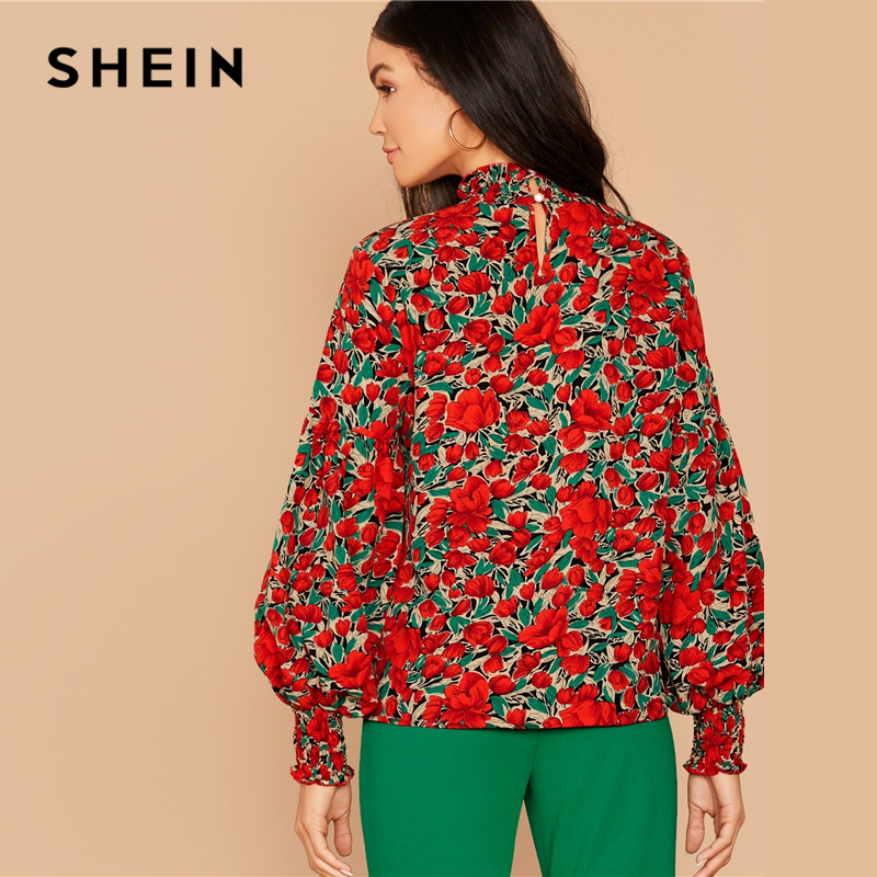 SHEIN Floral Print Shirred Neck Elegant Blouse Top Women Spring Autumn Stand Collar Bishop Sleeve Button Back Blouses And Tops 2