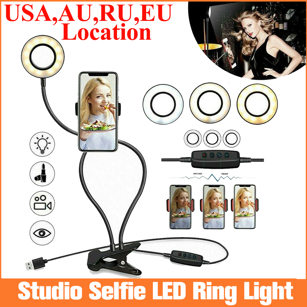 Photo Studio Selfie LED Ring Light with Cell Phone Mobile Holder for Youtube Live Stream Makeup,Ring Lamp for iPhone/Android(China)