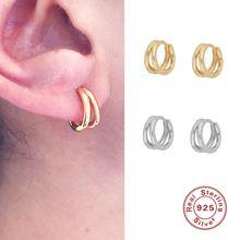 Женские двойные серьги кольца из серебра 925 пробы
