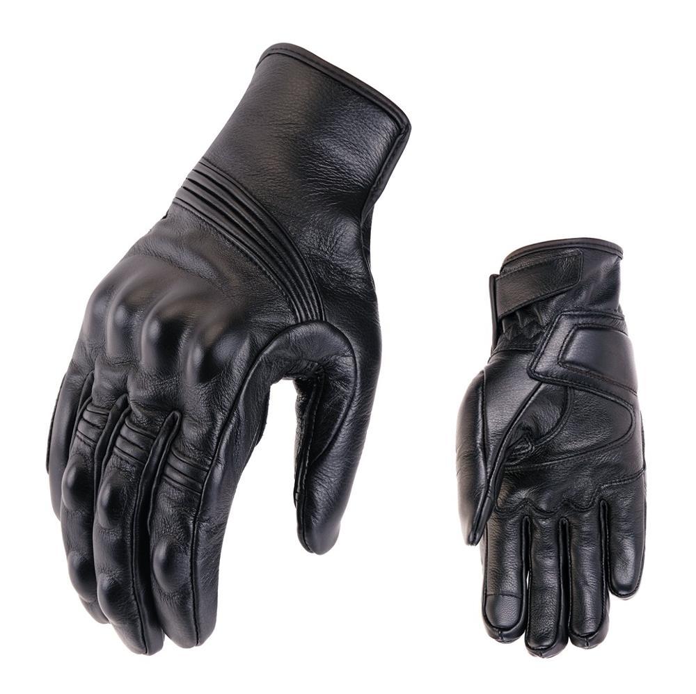 Перфорированные кожаные мотоциклетные перчатки в стиле ретро, защитное снаряжение для езды на мотоцикле, перчатки для мотокросса, зимние м...