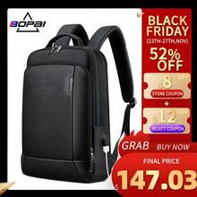 Bopai nova mochila de couro genuíno saco de viagem de negócios dos homens daypacks mochilas de couro natural pacote de volta notebook