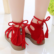 Girls Vintage Sandals New Summer Kids Shoes Girls Rome Flock
