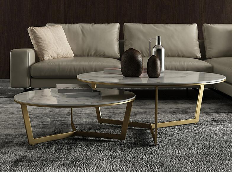 Nordic Marble Round Coffee Table Modern Minimalist Round Coffee Table Combination Simple Light Luxury Marble Coffee Table Combin
