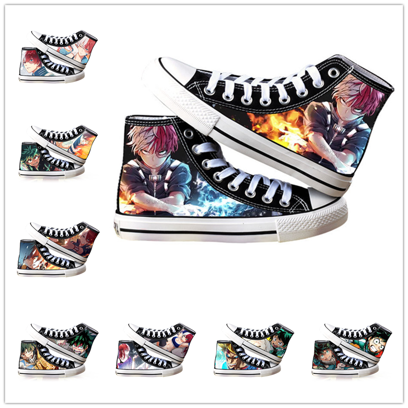 My Hero Academia Shoes Anime Cosplay Adult Students Men Women Spring Summer Casual Breathable High-top Canvas Shoes