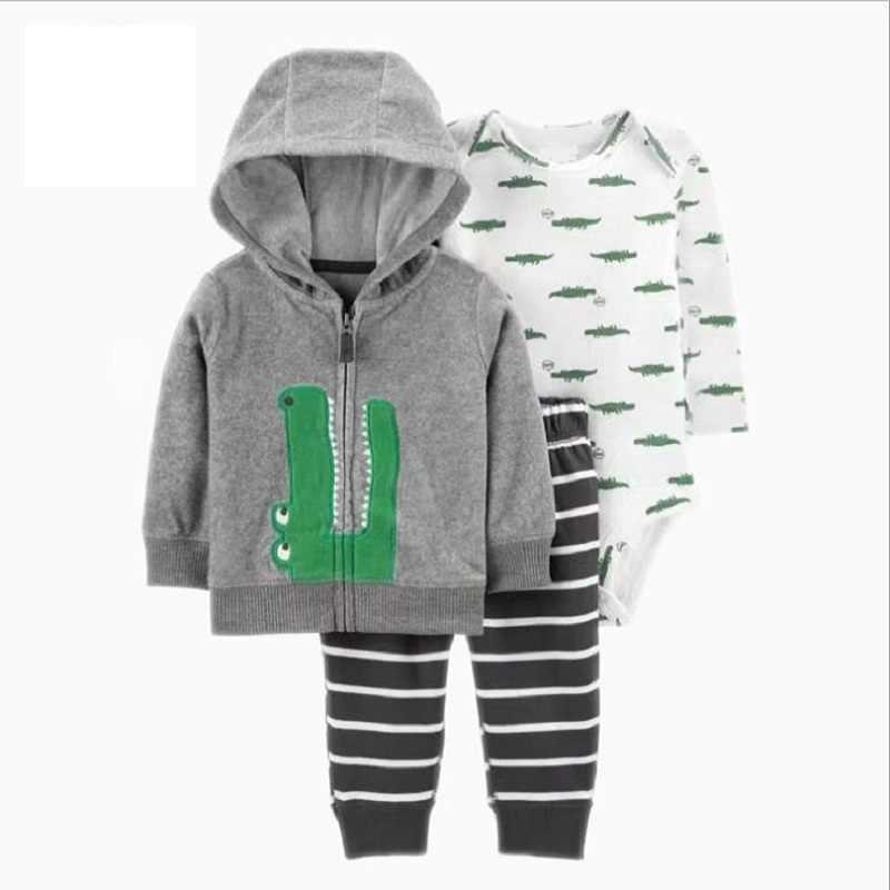 Lookykit ropa de bebé de dinosaurio de dibujos animados de manga larga con capucha chaqueta + mameluco + pantalón recién nacido traje de primavera otoño conjunto de ropa infantil