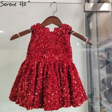 Dress Sparkle Flower-Girl First Sleeveless Red O-Neck BHTA0045 Stage-Costume