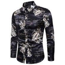 Hombre Fashion Shirts Men Printed New MOOWNUC Winter Autumn Male Long Sleeve Slim Casual Nightclub Costume