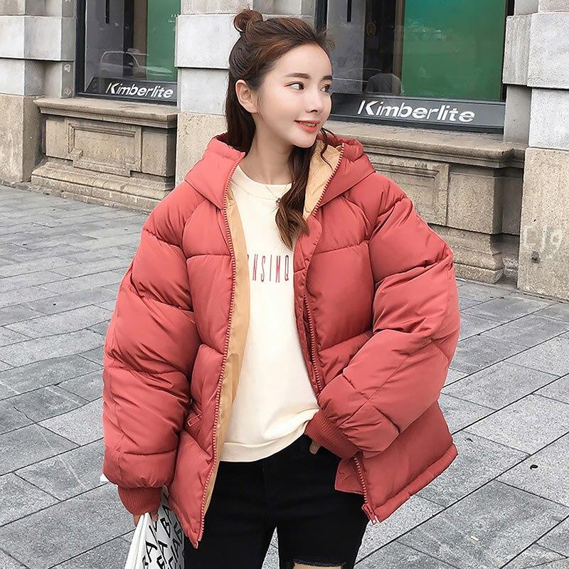 Women Down Coat 2019 New Full Zipper Solid Fashion Cotton-padded Women Down Jacket Big Hooded Warm Winter Jacket Women Coat
