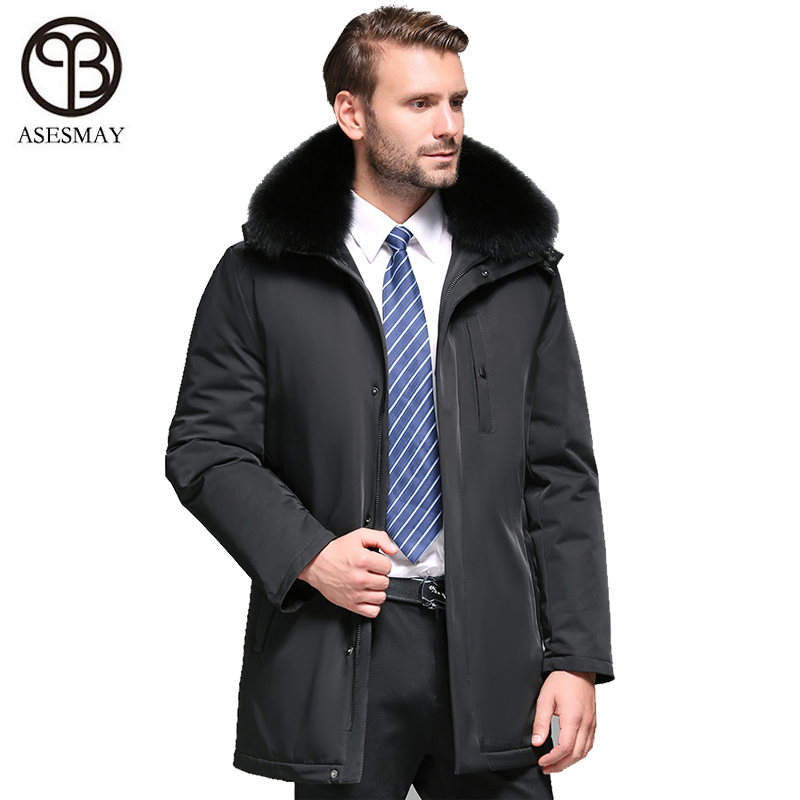 Asesmay 2019 Men Down Coat For Winter White Duck Down Jacket Goose Feather Long Parkas Male Fox Fur Detachable Thick Outerwear