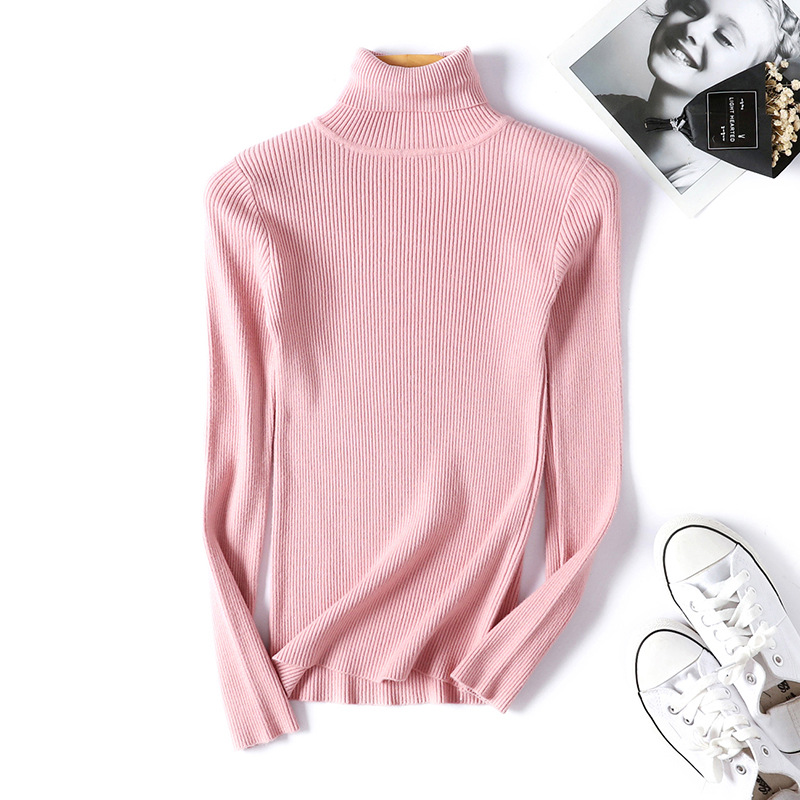 2020 AUTUMN Winter women Knitted Turtleneck Sweater Casual Soft polo-neck Jumper Fashion Slim Femme Elasticity Pullovers 15