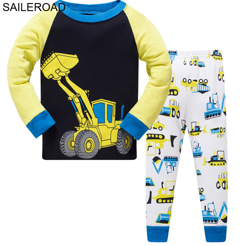 SAILEROAD Boys Nightwear 2020 Bulldozer Kids Pyjamas Suit Autumn Winter Baby Night Suit Cotton Children's Pajamas Sleepwear 1