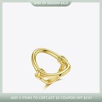 ENFASHION-anillo hueco ovalado para mujer, sortija curva de acero inoxidable, Color dorado, joyería de moda, regalos de fiesta, Anillos R204038