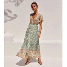Женское платье макси с цветочным принтом jastie винтажное повседневное
