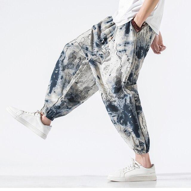 Calças masculinas harem calças joggers estampado com cordão solto-virilha calças masculinas 2020 solto coreano streetwear algodão casual calças masculinas 4