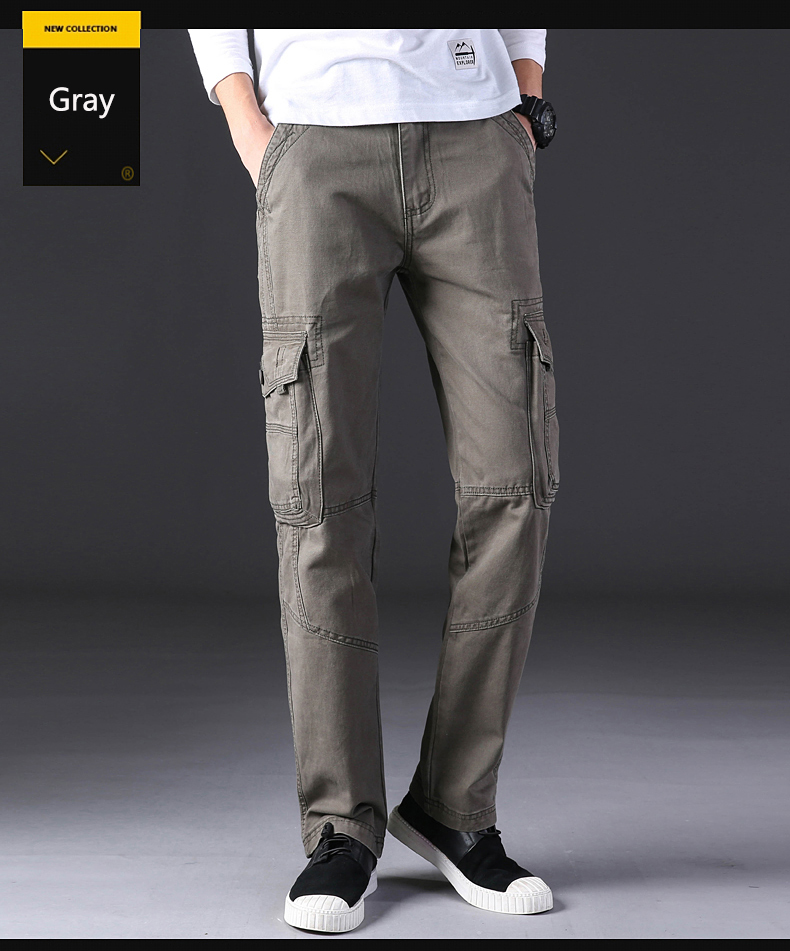 New men cargo pants mens Loose fit army tactical pants Multi-pocket trousers straight cut pantalon