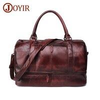 JOYIR Genuine Leather Travel Bag Men Vintage Large Capacity Travel Duffel Bag Multifunction Tote Casual Crossbody Shoulder Bags