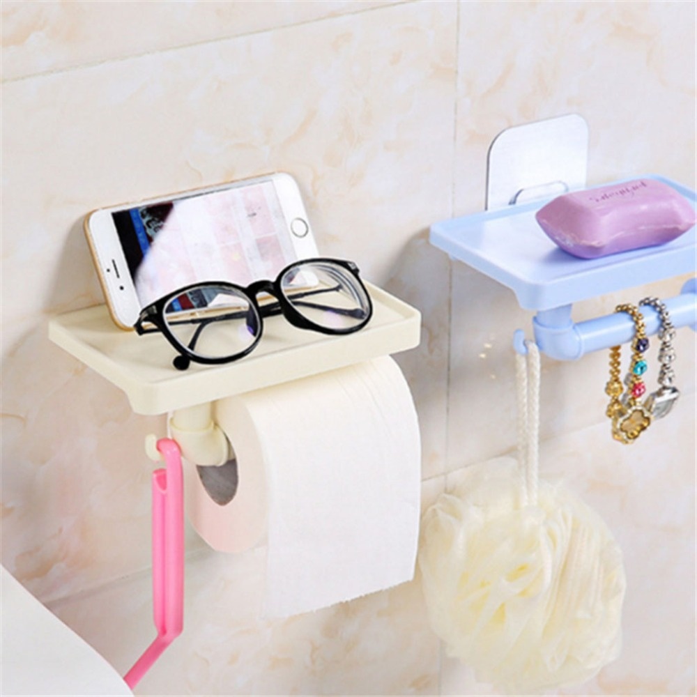 Colorful Bathroom Storage Multifunction Tissue Boxes Mobile Phone Storage Shelf Rack Roll Toilet Paper Storage Holder Organizer