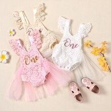 FOCUSNORM Neugeborenen Baby Mädchen Romper Kleid Mesh Spitze Ein Buchstabe Drucken Kleine Prinzessin Party Kleid Sommer Kostüm