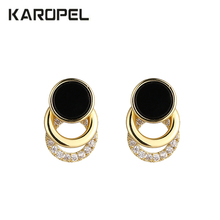 Exquisite Micro Paved Zircon Stud Earrings Black White Stone Geometric Round Punk Ear Jewelry Brincos