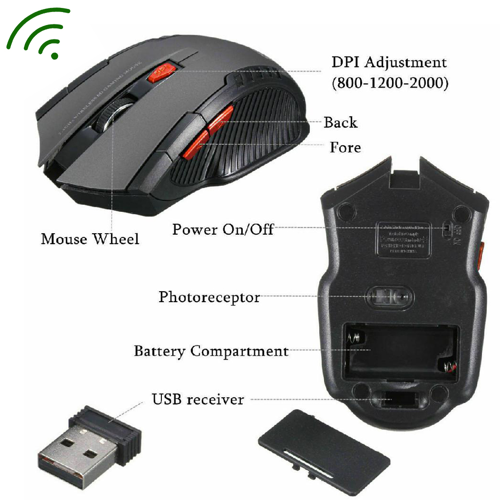 Wireless Mouse 2.4GHz Wireless Optical Gaming Mouse Wireless Mice With USB Receiver For PC Gaming Laptops Computer Mouse Gamer