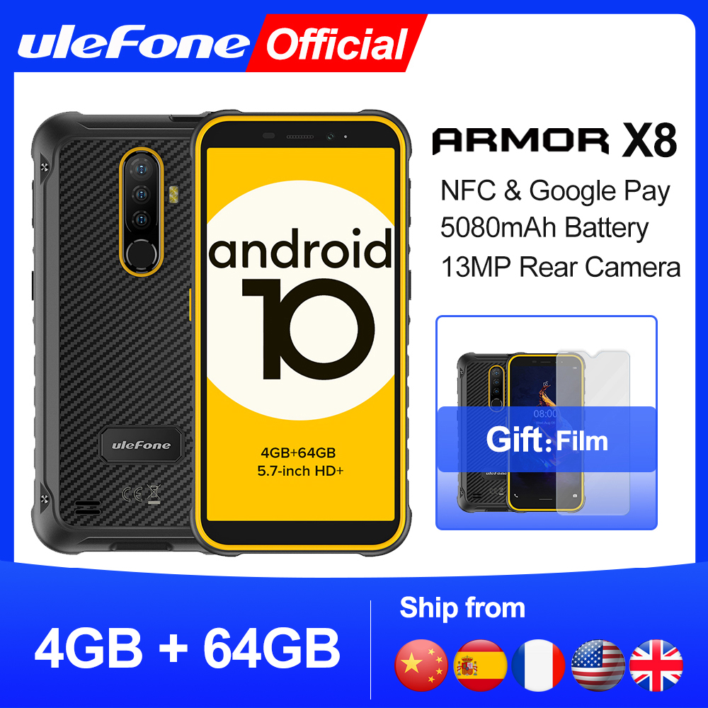Ulefone Armor X8 Rugged Waterproof Smartphone Android10 5.7-inch Cell Phone 4GB 64GB ip68 Octa-core NFC 4G LTE Mobile Phone