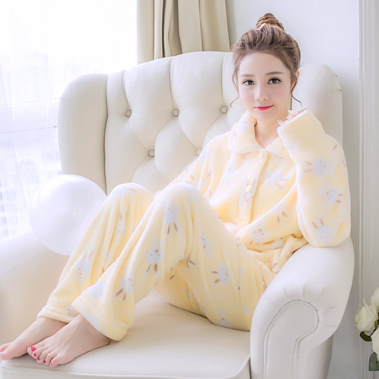 Cute Cartoon Casual Women 2PCS Pajamas Suit Winter Warm Sleepwear Sleep Set Pijamas Coral Fleece Soft Nightwear Home Clothing