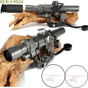 Rifle táctico Dragunov 3-9x24 SVD primer avión Focal Rifle de francotirador mira Fit AK 47 rojo iluminado mira telescópica
